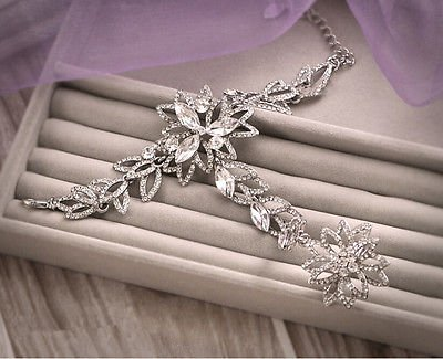 Sunshinesmile Wedding Bridal Crystal Rhinestone Hand Bracelet Flower Ring Wristband Gloves