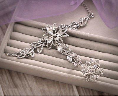 Sunshinesmile Wedding Bridal Crystal Rhinestone Hand Bracelet Flower Ring Wristband Gloves