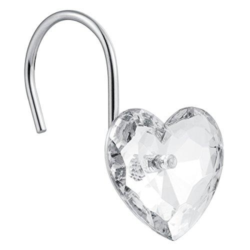 Cyrra Decorative Crystal Heart Shape Shower Hooks Rust Resistant Hooks Glide Shower Ring Hangs for Shower Curtain 12-Pack (Crystal White Heart) - Heart Shower Curtain