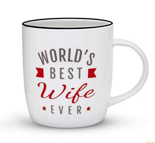 Gifffted Wife Coffee Mug, Worlds Best Wife Ever, Funny Anniversary and Birthday Gift for Her, Unique Wives Gifts from Husband for Women, Ceramic, 13 Ounce