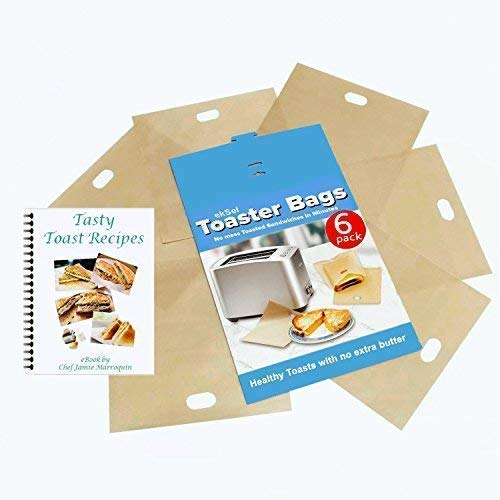 ekSel Toaster Bags Gluten Free Toasts Reusable Non-Stick Any Size Bread FDA Approved 6 Pack (Best Cheese For Cheese On Toast)