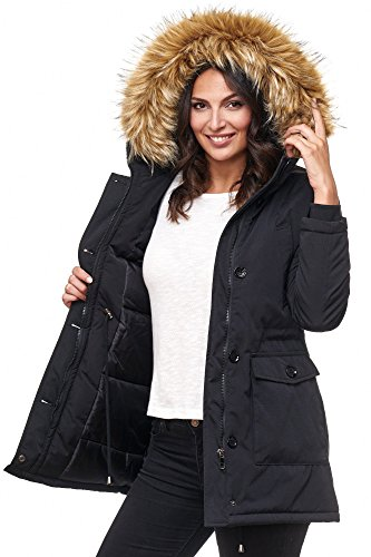 braun Fell Women Parka For Jacket Elara Schwarz TFqHXZxW