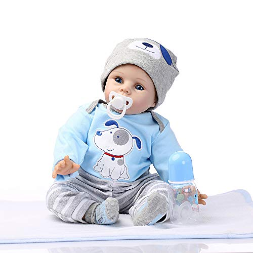 Birdfly Type:51 Reborn Black Toddler Smile Baby Doll with Lovely Puppy Pattern Dress Lifelike Toy (multicolor)