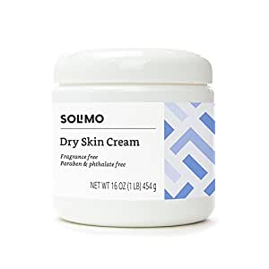 Amazon Brand - Solimo Dry Skin Cream, Fragrance free, Paraben free, Phthalate free, 16 Ounce
