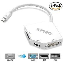 KPTEC Mini DisplayPort (Thunderbolt) to HDMI 4K DVI VGA Adapter - White 2 Pack