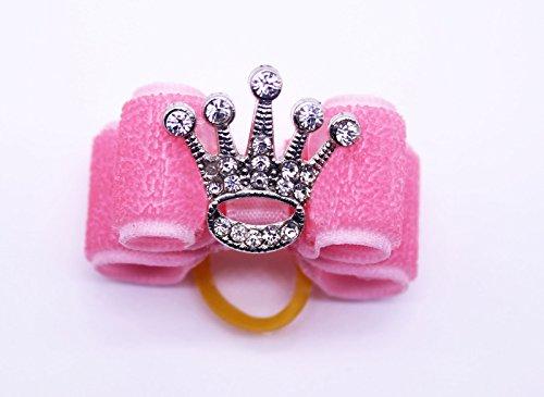Diva Dog Bows - yagopet 2pcs Bling Diamond Crown Dog Hair Bows Rubber Bands Princess Doggy Grooming Bows Pink Dog Bows Dog Grooming Bows pet Supplies