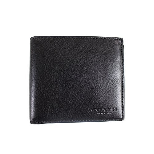 Coach Classic Wallet - COACH DOUBLE BILLFOLD SPORT CALF LEATHER, F75084 (Black)