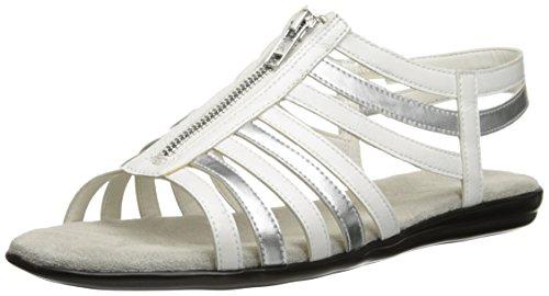 Sandals Aerosoles Suede (Aerosoles Women's Chlothesline Huarache Sandal,White/Silver,7 M US)