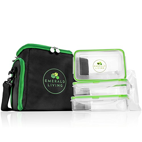 Emerald Living Meal Prep Bag with Containers. 3-Pack & 2
