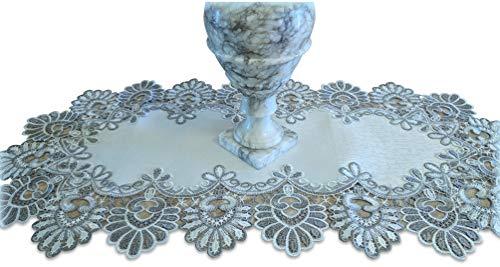 Galleria di Giovanni Silver Gray Lace Table Runner Antique White Oval Dresser Scarf Doily