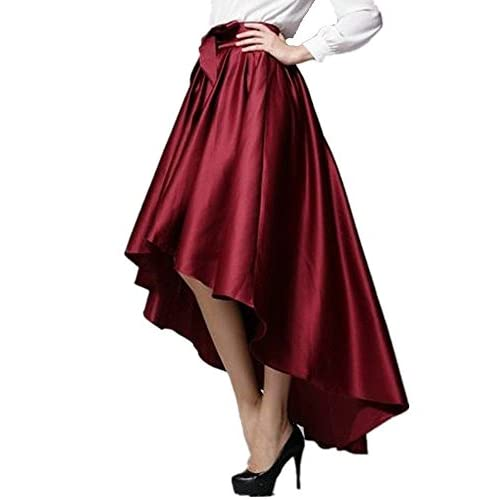 on sale Irisdress Women's Burgundy/Black Bowknot High Waist Hi-lo ...