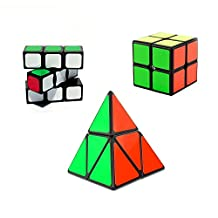 I-xun® Sample Magic Cube for Beginner Puzzle Cube Pack 3 cubes in Package 1x3x3 and 2x2x2 and Pyraminx