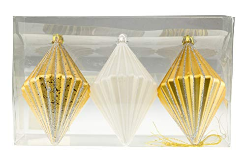 Shatterproof Christmas Tree Diamond Shaped Ornaments by Clever Creations | Gold and White 3.5