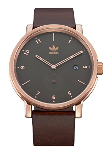 Adidas Watches District_LX2. Premium Horween Leather Strap, 20mm Width (Rose Gold/Olive/Brown. 40mm).