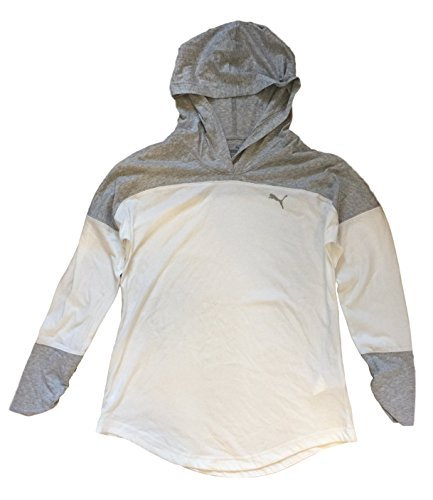 Puma Ladies' Hooded Pullover (Heather Grey/White) (X-Large)