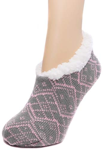 Charles Albert Womens Cozy & Comfortable Womens Slipper Socks in Grey Pink Pattern Size: S/M ()