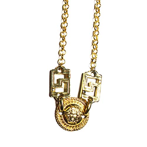 Gianni Versace Small Gold Single Sided Medusa Head Coin Chain with Greek Key Accents