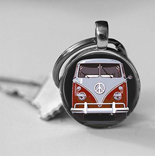 Custom pictures,Vintage Red Hippie Bus Photo Pendant Necklace or Key Chain Retro bus Car Collectors Hippie Van Peace Sign Jewelry glass pendant,Key Chain or - Peace Sign Pendant Flat