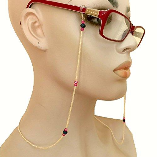 Chain Holder Off White Eyeglass Hand Beaded