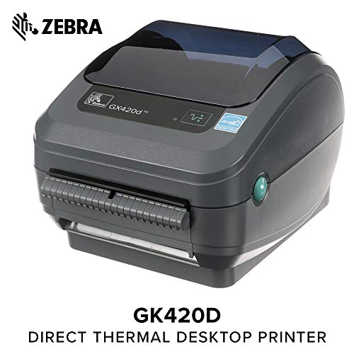 Zebra - GX420d Direct Thermal Desktop Printer for Labels, Receipts, Barcodes, Tags, and Wrist Bands - Print Width of 4 in - USB, Serial, and Ethernet Port Connectivity (Includes Peeler) (Port Label)