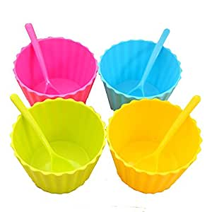 mk. park - Kids Ice Cream salad Bowls Ice Cream Cup Couples Bowl with Spoon Dessert (Pink)