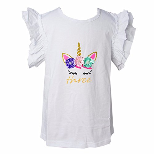 Kirei Sui Girls 1st - 5th Birthday Unicorn Icing Shirt 4T Three