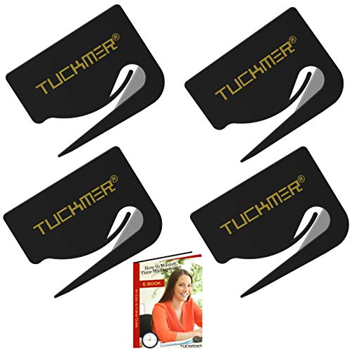 Letter Opener Envelope Slitter - Mail Opener for Women, Men, Office, Home & Business Travelers - Openers with Safety Concealed Razor Blade and Guiding Tip for Perfect Cut - Tool Set of 4 (Black)
