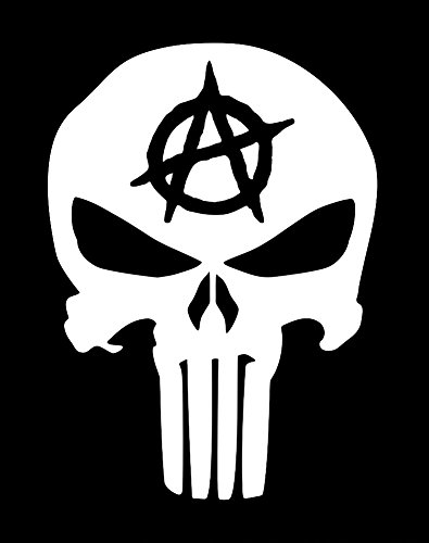 UR Impressions Anarchy Punisher Skull Decal Vinyl Sticker Graphics for Car Truck SUV Van Wall Window Laptop|White|5.5 X 4.3 inch|URI223]()