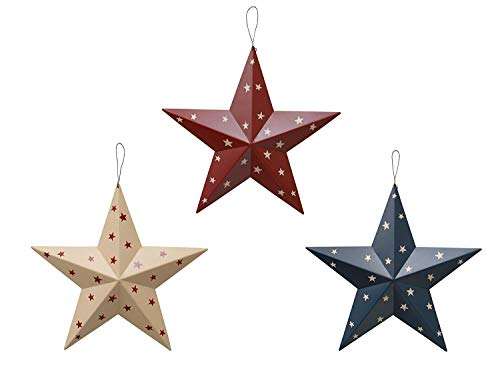 Rainbow Handcrafts Rustic Metal 3D Barn Star Patriotic Wall Decor Americana Star July 4th Country Americana Patriotic Wall Ornament,Outdoor Decoration Set of 3 (Blue/Red/Beige)