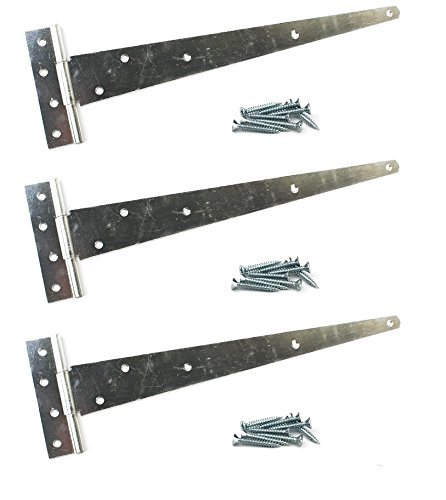 3x Galvanised Tee Hinges 24' 600mm Long VERY HEAVY DUTY Gate Shed FIXINGS INCLUDED Wyre Direct