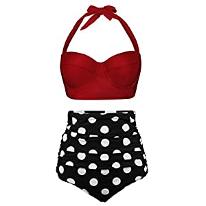 UniSweet Women Vintage Polka Dot High Waisted Bikini Set Two Piece Swimsuits (Womens Size)
