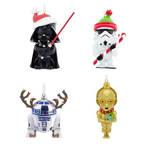 Hallmark Star Wars Cutie-style Darth Vader Storm Trooper R2D2 and C3PO Collectors Set Christmas Ornaments