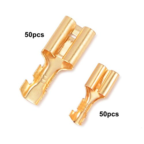 - FOSHIO 100 Pack Golden Car Electrical Female Ring Terminals Wire Connectors Cable Non Insulated Terminals for Car Relays Industry Equipment