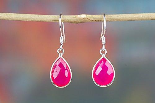(Pink Chalcedony Earrings, Gemstone Earrings, Minimalist Earrings, pink earrings, chalcedony earrings, dangle earrings, chalcedony jewelry, Pear Shape Earrings)