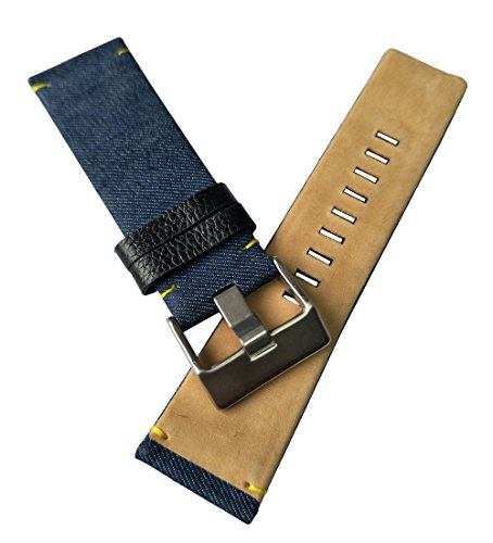 MSTRE 26mm Nylon and Calfskin Leather Watch Band Replacement Strap For Men's Diesel Watches (Blue) by MSTRE (Image #4)