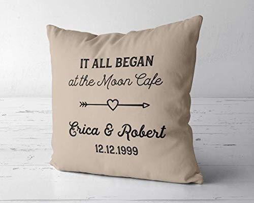 (Wini2342ckey It All Began Pillow, Custom, 1st Anniversary, 5th 10th 20th 25th 30th 40th 50th 60th, 10 Year Anniversary)
