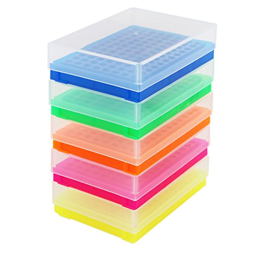 PCR Tube Rack for 0.2ml Micro-Tubes, 8 x 12 Array, Assorted Fluorescent Colors, 5 per Case