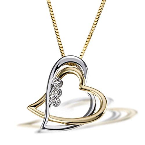 Goldmaid - C08GW - Collier Femme - Or bicolore 585/1000 (14 ct) 3.1 Gr - Diamant 0.03 ct