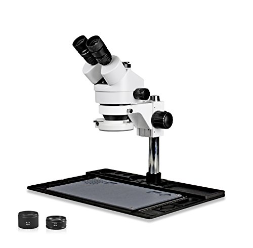 Vision Scientific VS-10FZ-IFR07 Trinocular Stereo Zoom 7x-45x Microscope with Barlow Lens, 144-LED Ring Light, Repair and Maintenance Platform for Soldering and, Cell Phone Repair