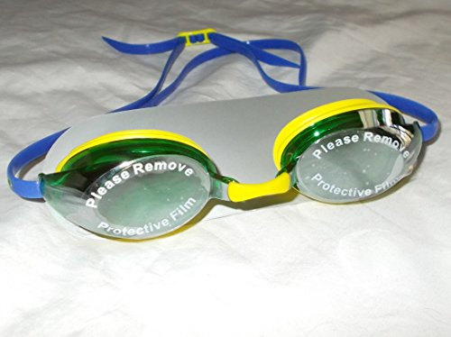 Sporti Special Edition World Series Antifog S2 Goggles Yellow with Green Lenses and Blue Strap with Brazil Flag on the Strap.