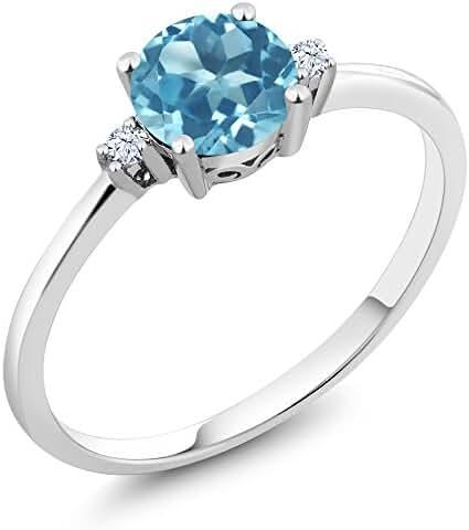 10K White Gold 3 Stone Ring Round Swiss Blue Topaz White Created Sapphire (0.93 cttw)