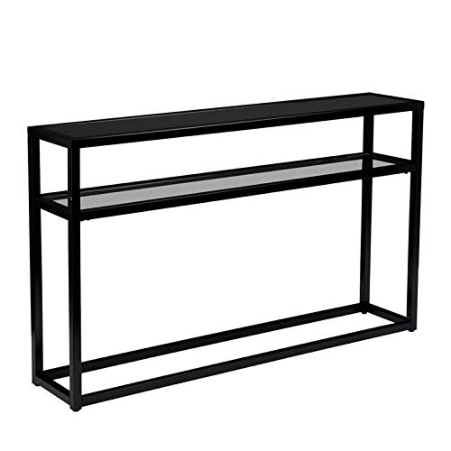 Baldrick Glass Media Console Table - Space Saving w/ Slim Profile - 2 Tier