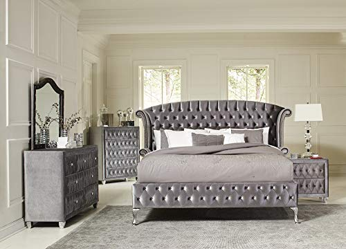Coaster Home Furnishings 205101Q Upholstered Bed, Queen, Grey Metallic