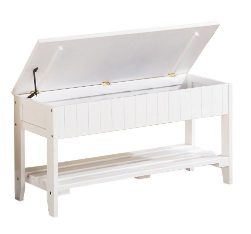 Roundhill Furniture Quality Solid Wood Shoe Bench with Storage, White (Wood Bench Storage Small)