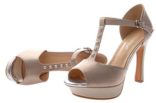 T&Mates Women's Peep-toe Sandals Thin Shoes Fashionable Pumps(7.5 B(W) US, lightbrown)
