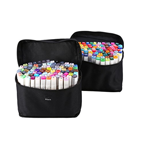 Yosoo 40, 60 or 80 Assorted Colors Alcohol Graphic Marker Pen Set, Dual Heads Animation Design Drawing Art Pen, Broad Fine Point Tip with Black Bag (168-Color) by Yosoo