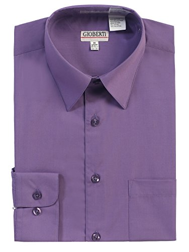 Gioberti Men's Big & Tall Long Sleeve Solid Dress Shirt, Purple, 4XL, Sleeve 37-38