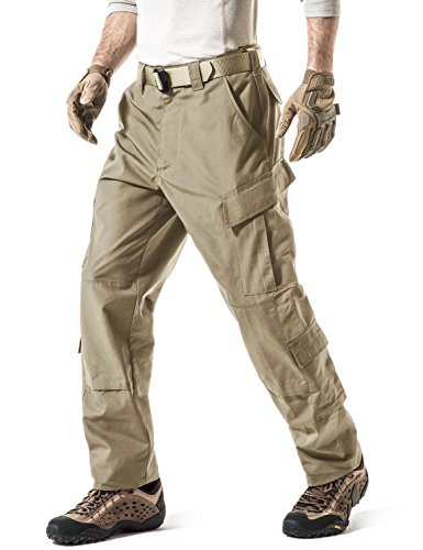 (CQR Men's ACU/BDU Rip Stop Trouser EDC Tactical Combat Pants, ACU Tag Button(uap02) - Khaki, X-Large(W40-44)-Long)