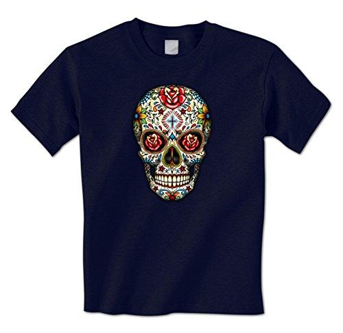 Day Of The Dead Skull Dia De Los Muertos Mexican Sugar Skull Mens T-Shirt XXL Navy
