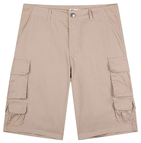 WenVen Men's Ripstop Multi Pockets Cargo Work Short (Khaki, 32 ()